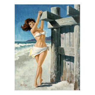 White bikini at the beach postkarte