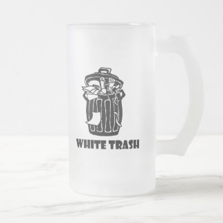 White Trash-Mülleimer Mattglas Bierglas