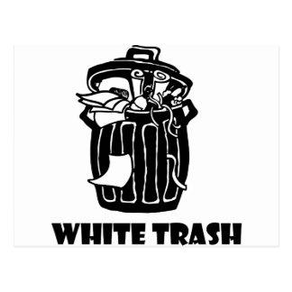 White Trash-Mülleimer Postkarte