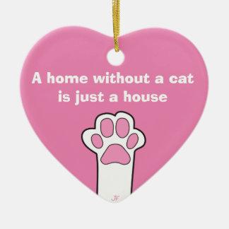 Whitout Zuhause der Katzentatzen A eine Katze ist Keramik Herz-Ornament