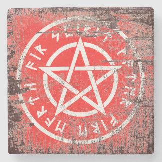 Wiccan weißer Pentagram in gealterter Art Steinuntersetzer