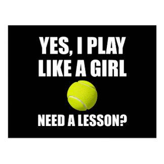 Wie ein Mädchen-Tennis Postkarten