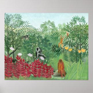 Wieder hergestellte tropische Dschungel-Kunst Poster