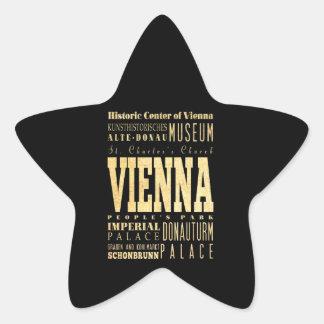Wien-Stadt der Österreich-Typografie-Kunst Stern-Aufkleber
