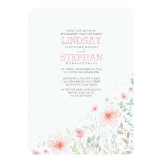 Wiesen-rosa Blumenwatercolor-Verlobungs-Party 12,7 X 17,8 Cm Einladungskarte