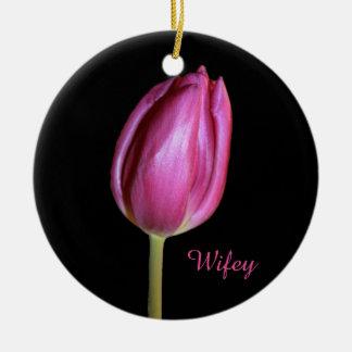 Wifey Ehefrau-Rosa-Tulpe-Blumen-BlumenFotos Keramik Ornament