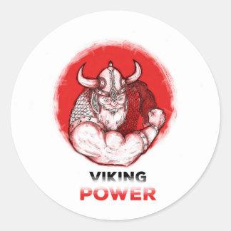 Wikinger power runder aufkleber