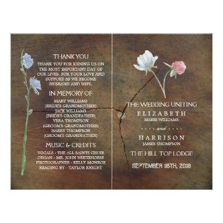 Wildblume-Eichen-Holz-Hochzeits-Programm Flyer