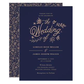 Wildblume-Hochzeits-Einladung Karte