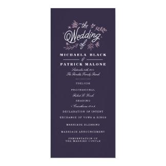 Wildblume-Hochzeits-Programm 10,2 X 23,5 Cm Einladungskarte