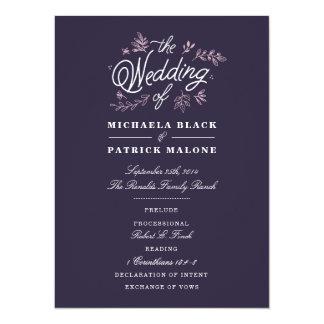 Wildblume-Hochzeits-Programm 14 X 19,5 Cm Einladungskarte