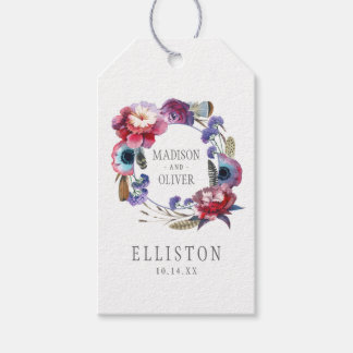 Wildblume-Pfingstrose mit Blumen mit Federn Geschenkanhänger