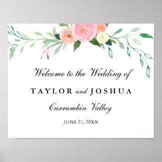 Wildblumewatercolor-Willkommens-Hochzeits-Zeichen Poster