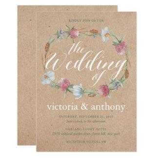 WildblumeWreath auf Kraftpapier-Land-Hochzeit 12,7 X 17,8 Cm Einladungskarte