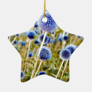 Wilde Blaue Disteln Keramik Stern-Ornament