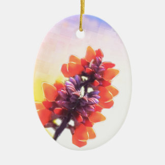 Wilde Blumen Ovales Keramik Ornament