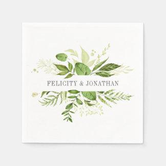 Wilde botanische personalisierte Hochzeit der Papierserviette