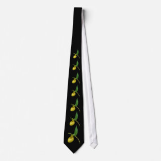 Wilde gelbe Orchideen-Frauenschuh Blume Bedruckte Krawatte