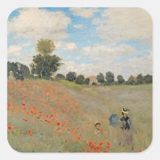 Wilde Mohnblumen Claude Monets |, nahe Argenteuil Quadratischer Aufkleber