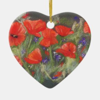 Wilde rote Mohnblumenanzeige Keramik Herz-Ornament