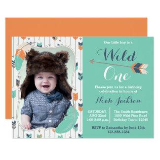 Wilde Stammes- erste Geburtstags-Foto-Einladung 12,7 X 17,8 Cm Einladungskarte