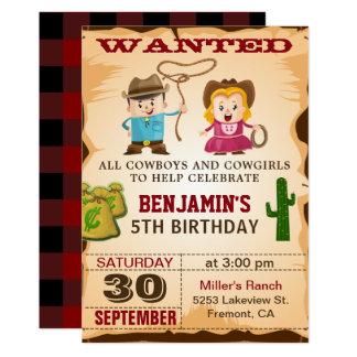 Wilde Westcowboy-Kindergeburtstag-Party Einladung