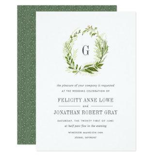 Wilde Wiesen-Monogramm-Hochzeits-Einladung 12,7 X 17,8 Cm Einladungskarte
