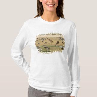 Wildebeests, Zebras und Giraffen erfassen an a T-Shirt
