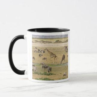 Wildebeests, Zebras und Giraffen erfassen an a Tasse