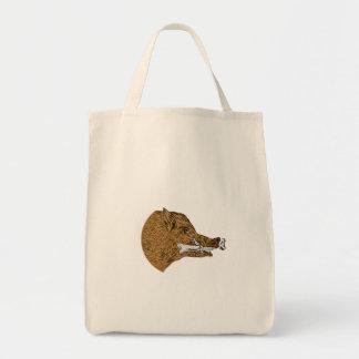 Wilder Eberrazorback-Knochen beim Mund-Zeichnen Einkaufstasche