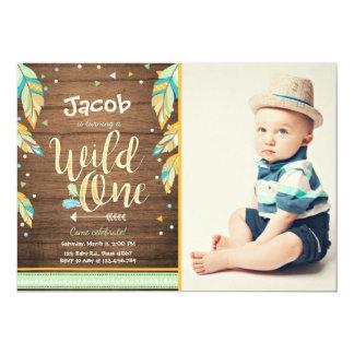 Wilder erster Junge Geburtstag der 12,7 X 17,8 Cm Einladungskarte
