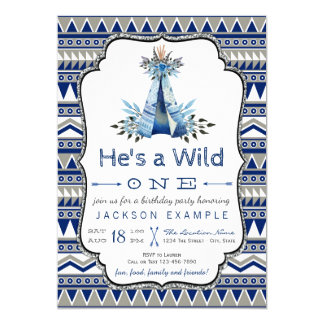 Wilder Geburtstags-Partyblauer Teepee-erster 12,7 X 17,8 Cm Einladungskarte