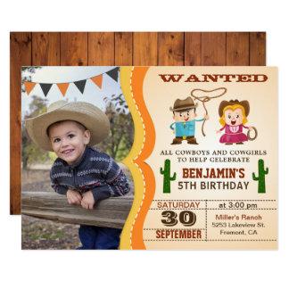 Wilder Westcowboy scherzt Foto-Geburtstags-Party 12,7 X 17,8 Cm Einladungskarte
