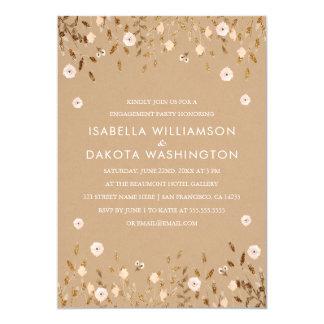 Wildes Blüten-Goldelegantes Verlobungs-mit 12,7 X 17,8 Cm Einladungskarte