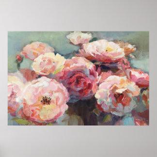 Wildes Rosa-Rosen Poster