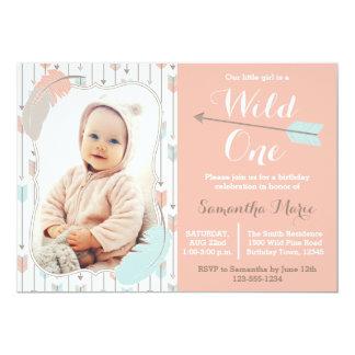 Wildes Stammes- Mädchen-erster Geburtstags-rosa 12,7 X 17,8 Cm Einladungskarte