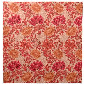 William Morris-Chrysanthemen, korallenrote Orange Serviette