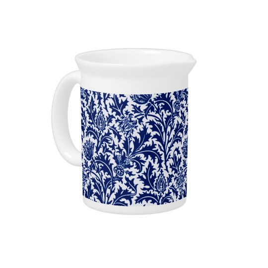 William Morris-Distel-Damast, Kobalt-Blau u. Weiß Krug