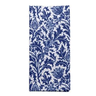William Morris-Distel-Damast, Kobalt-Blau u. Weiß Serviette