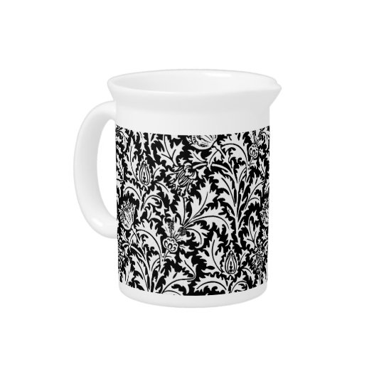 William Morris-Distel-Damast, Schwarzweiss Getränke Pitcher