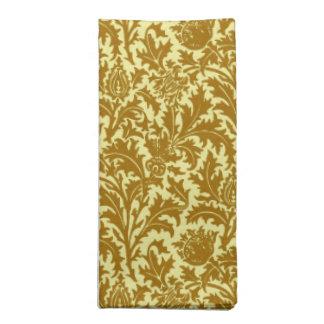 William Morris-Distel-Damast, Senf-Gold Stoffserviette