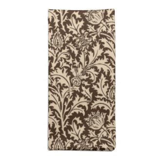 William Morris-Distel-Damast, Taupe TAN u. Beige Stoffserviette