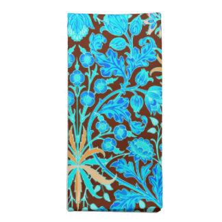 William Morris-Hyazinthen-Druck, Aqua und Brown Serviette