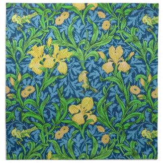 William Morris-Iris-Muster, Gelb und Kobalt-Blaues Serviette