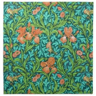 William Morris-Iris-Muster, Orange und Türkis Stoffserviette
