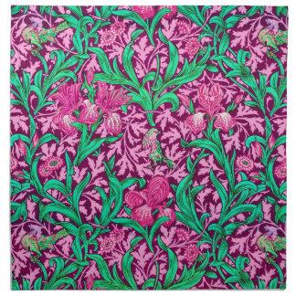William Morris-Iris-Muster, pinkfarbenes Rosa und Serviette