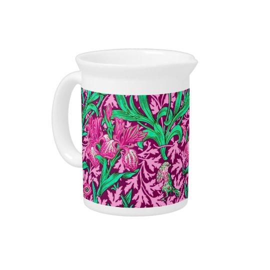 William Morris-Iris, pinkfarbenes Rosa und Wein Getränke Krüge
