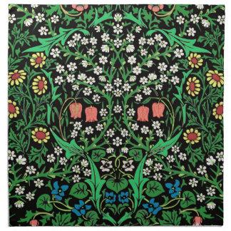 William Morris-Jacobean Blumen-, schwarzer Stoffserviette