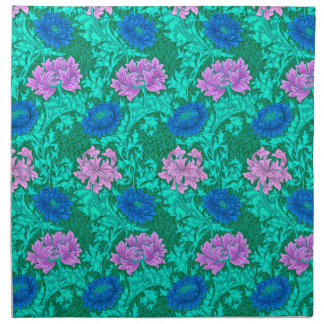 William Morrischrysanthemen, -aqua und -veilchen Stoffserviette