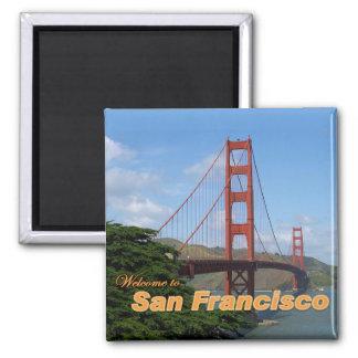 Willkommen zu San Francisco - Golden gate bridge Quadratischer Magnet